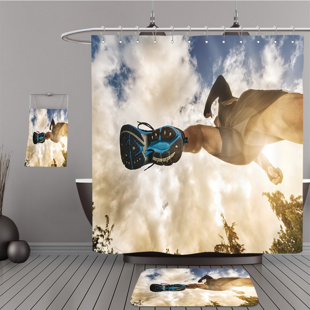 Uhoo Bathroom Suits & Shower Curtains Floor Mats And Bath Towels 286785542 Outdoor cross country running low angle view under runner concept for exercising, fitness and healthy lifestyle For Bathroom