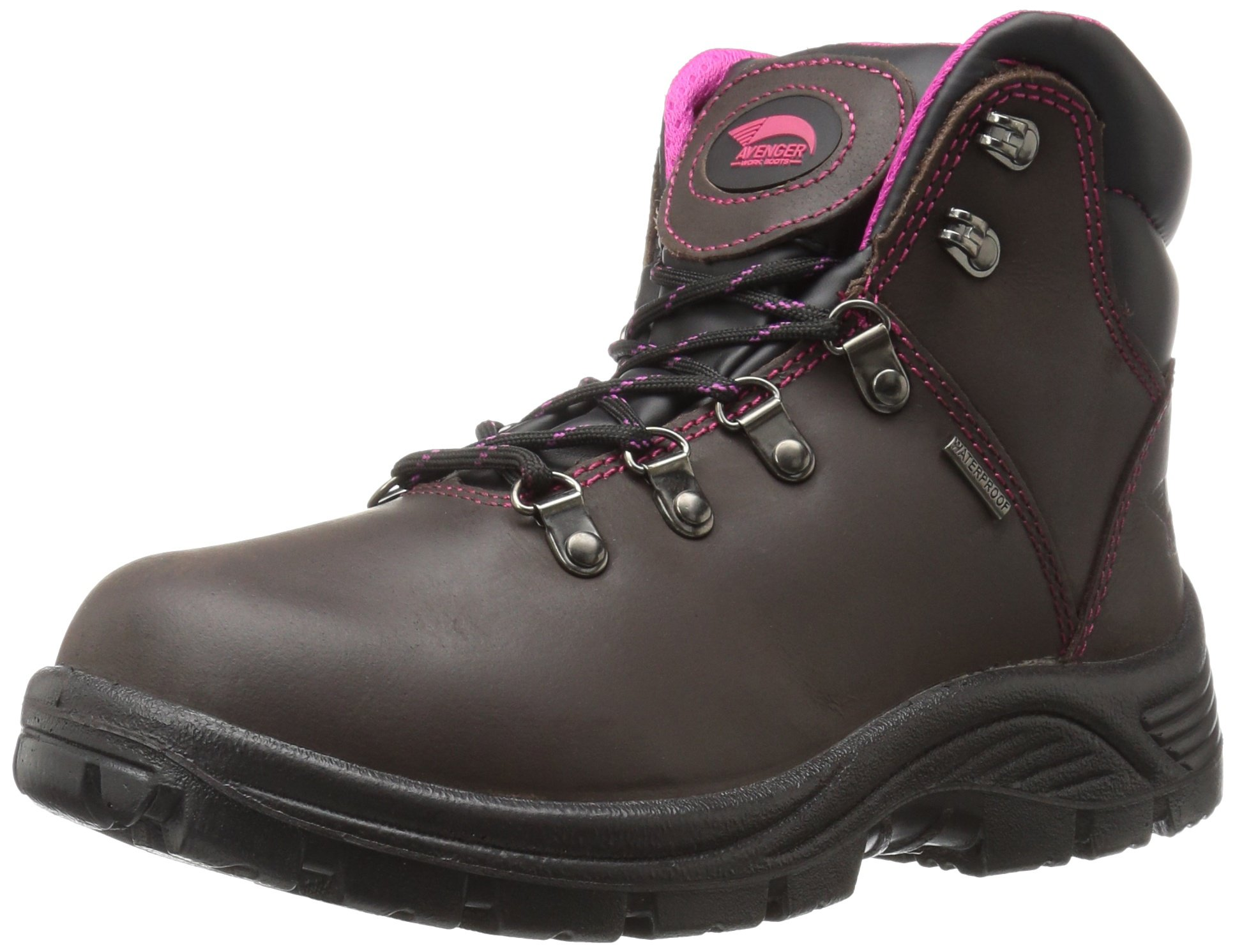 Avenger Safety Footwear Women's Avenger 7675 Soft Toe Waterproof SR EH Hiker Industrial and Construction Shoe, Brown, 6.5 2E US