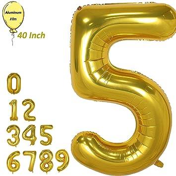 Amooy DiZi Globos grandes con números dorados gigantes de ...