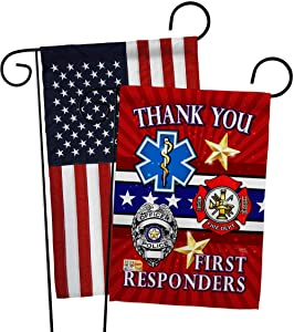 First Responders Garden Flag - Pack Armed Forces Service All Branches Support Honor United State American Military Veteran Official USA Applique - House Banner Small Yard Gift Double-Sided 13 X 18.5