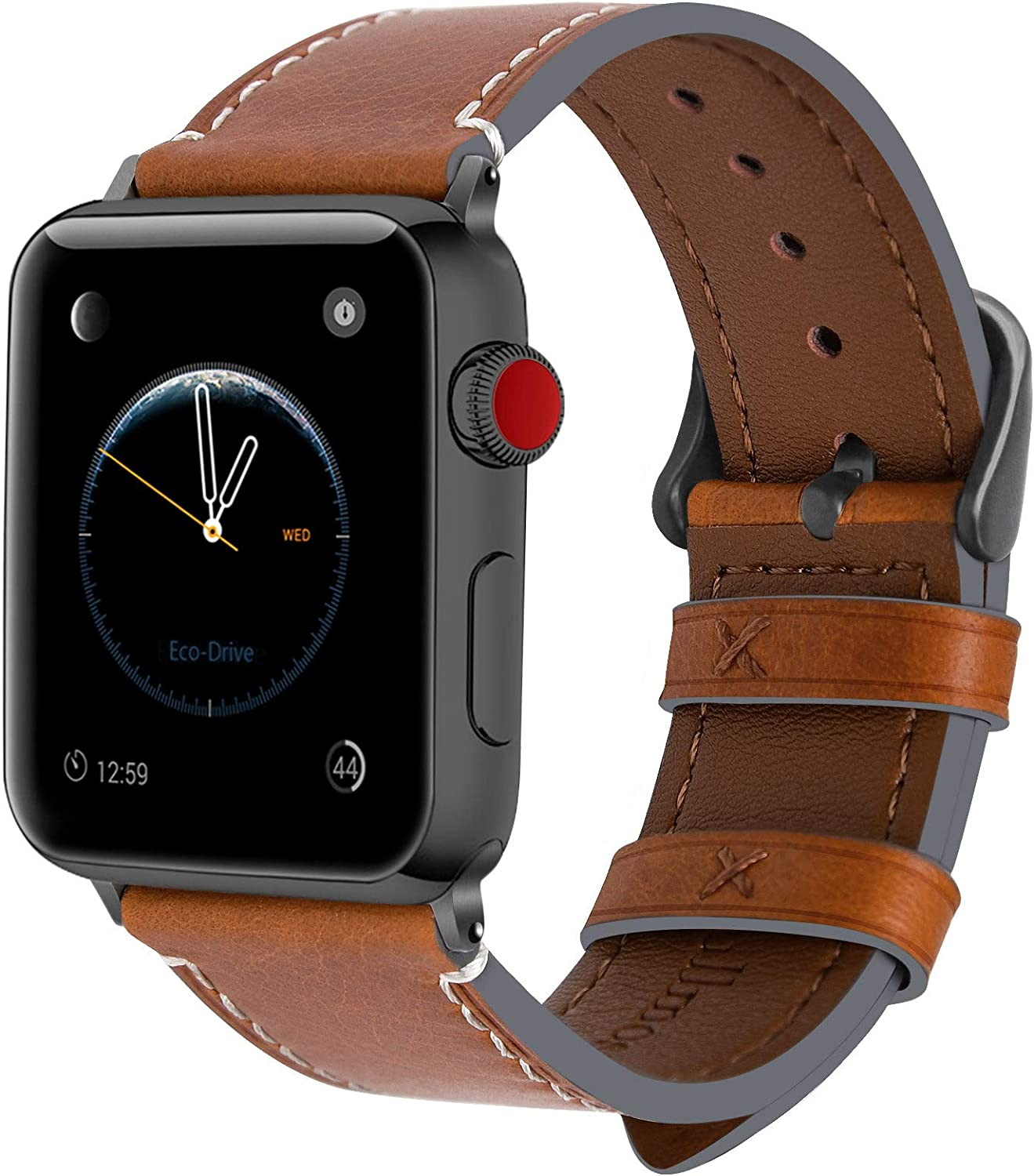 Fullmosa Compatible Apple Watch Band 44mm 42mm 40mm 38mm Leather for iWatch SE & Series 6/5/4/3/2/1, 42mm 44mm Light Brown + Smoky Grey Buckle
