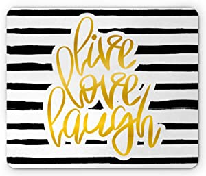 Ambesonne Live Laugh Love Mouse Pad, Romantic Design with Hand Drawn Stripes and Calligraphic Text, Rectangle Non-Slip Rubber Mousepad, Standard Size, White Yellow