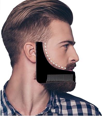 Plantilla para el cuidado de la barba con tijeras y peine, ayuda para afeitar, tres días de barba
