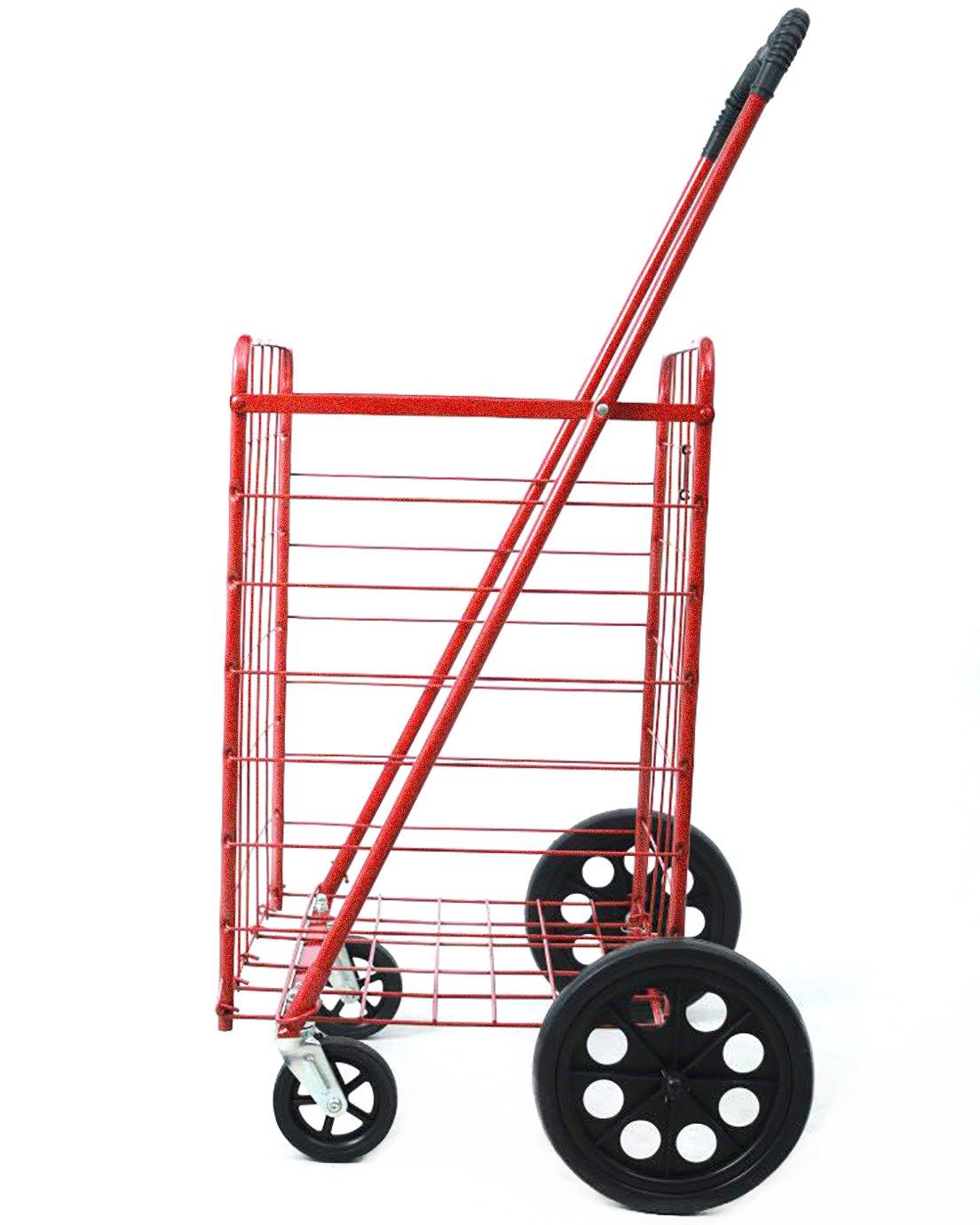 Premium nuevo metálico Heavy Duty Metal Caster giratorio nuevo frente ruedas plegable carrito de compras ropa de comestibles - Actualiza metal y ruedas de ...