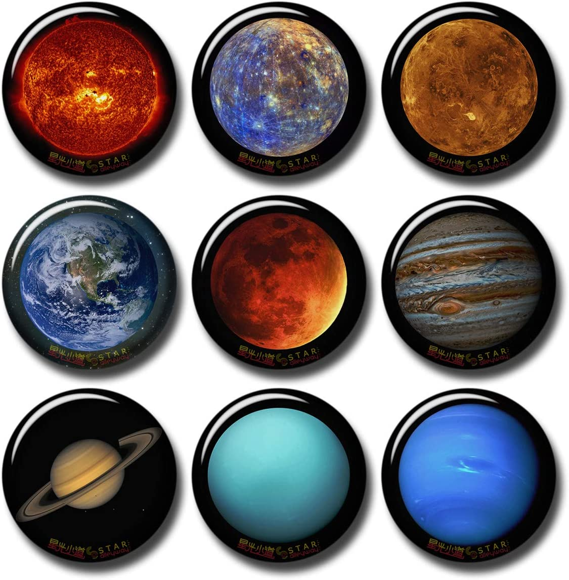 Solar System Sun 8 Planets 9 pcs Button Fridge Magnets Set Pack Astronomy Universe Stars 601-P001 Jupiter Saturn Uranus Neptune,Home Kitchen Refrigerator Decor Gifts (Round 1.5 inch|3.7cm)