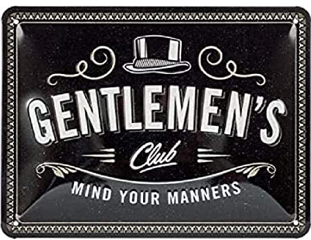 Gentlemens Club Nostalgic-Art Targa Vintage Achtung in metallo Idea regalo per uomini 15 x 20 cm Design retro per decorazione