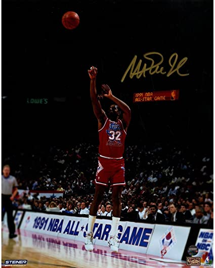 Magic Johnson Signed 1991 All-Star Game Jump Shot 8x10 Photo at ... 3a49aa713