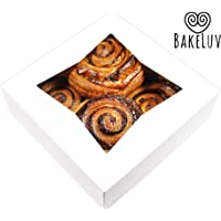 BakeLuv White Bakery Boxes with Window 8x8x2.5 inches | 12 Pack | Auto-Popup | Thick & Sturdy 350 GSM | Cookie Boxes with Window Bakery Boxes for Cookies, Cake Boxes, Donut Boxes, Pastry Boxes