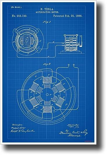 Amazon telsa ac motor patent new technology engineering telsa ac motor patent new technology engineering blueprint poster malvernweather Choice Image