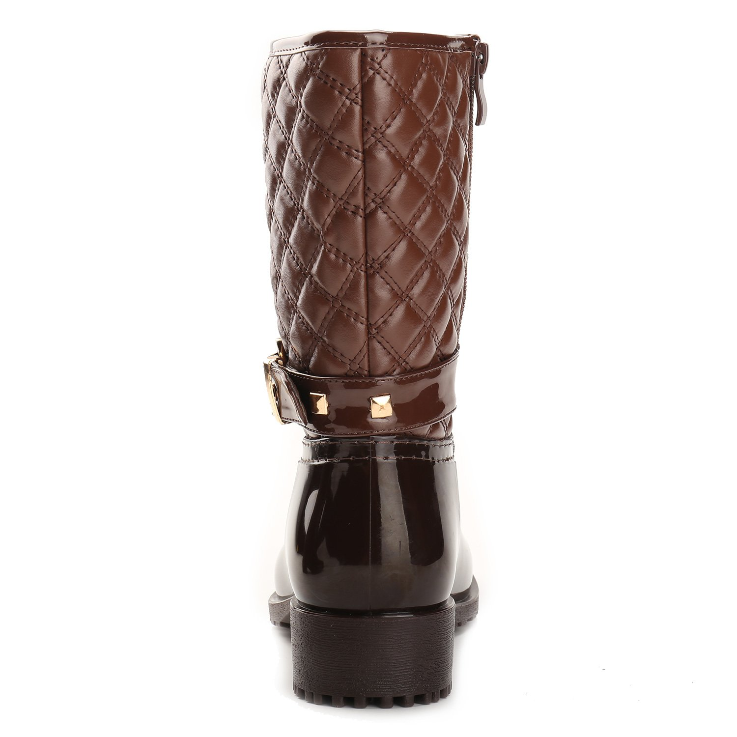 Alexis Leroy Women Checkered Diamond Pattern Studded Adjustable-Strap Warm-Keeping Rain Boots