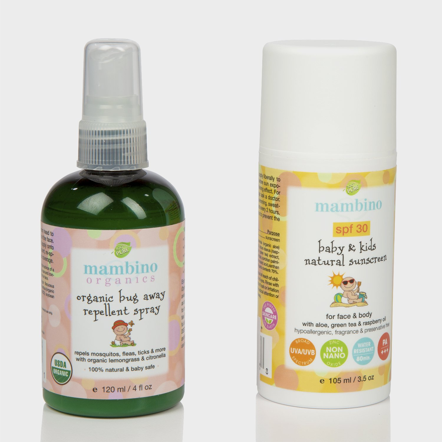 Mambino Organics SPF 30 Baby & Kids Natural Mineral Sunscreen, 3.5 oz with Mambino Organics Bug Away Insect Repellent Spray, 4 Fluid Ounce