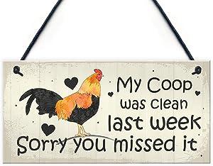 POWERMAZ My Coop was Clean Last Week Wood Hanging Signs Chicken Accessories Garden Plaque Gifts 10x5(BW681)