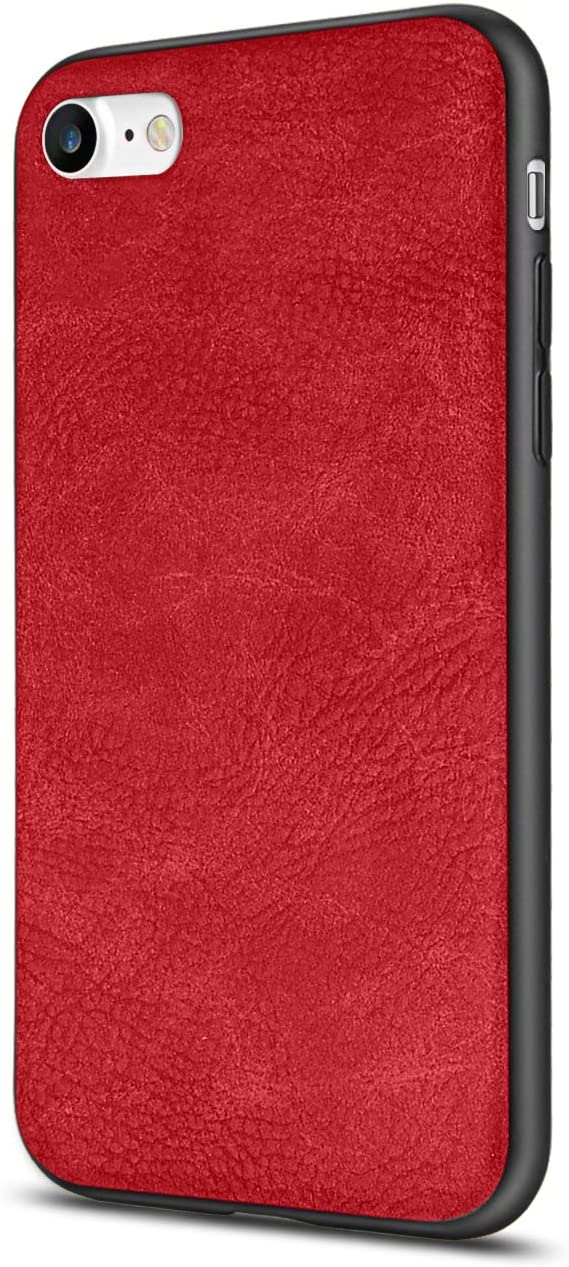 SALAWAT for iPhone SE 2020 Case, iPhone 7 Case, Slim PU Leather iPhone 8 Case Shockproof Phone Case Cover Lightweight Soft TPU Bumper Hard PC Hybrid Protective Case for iPhone SE/8/7 4.7 Inch (Red)