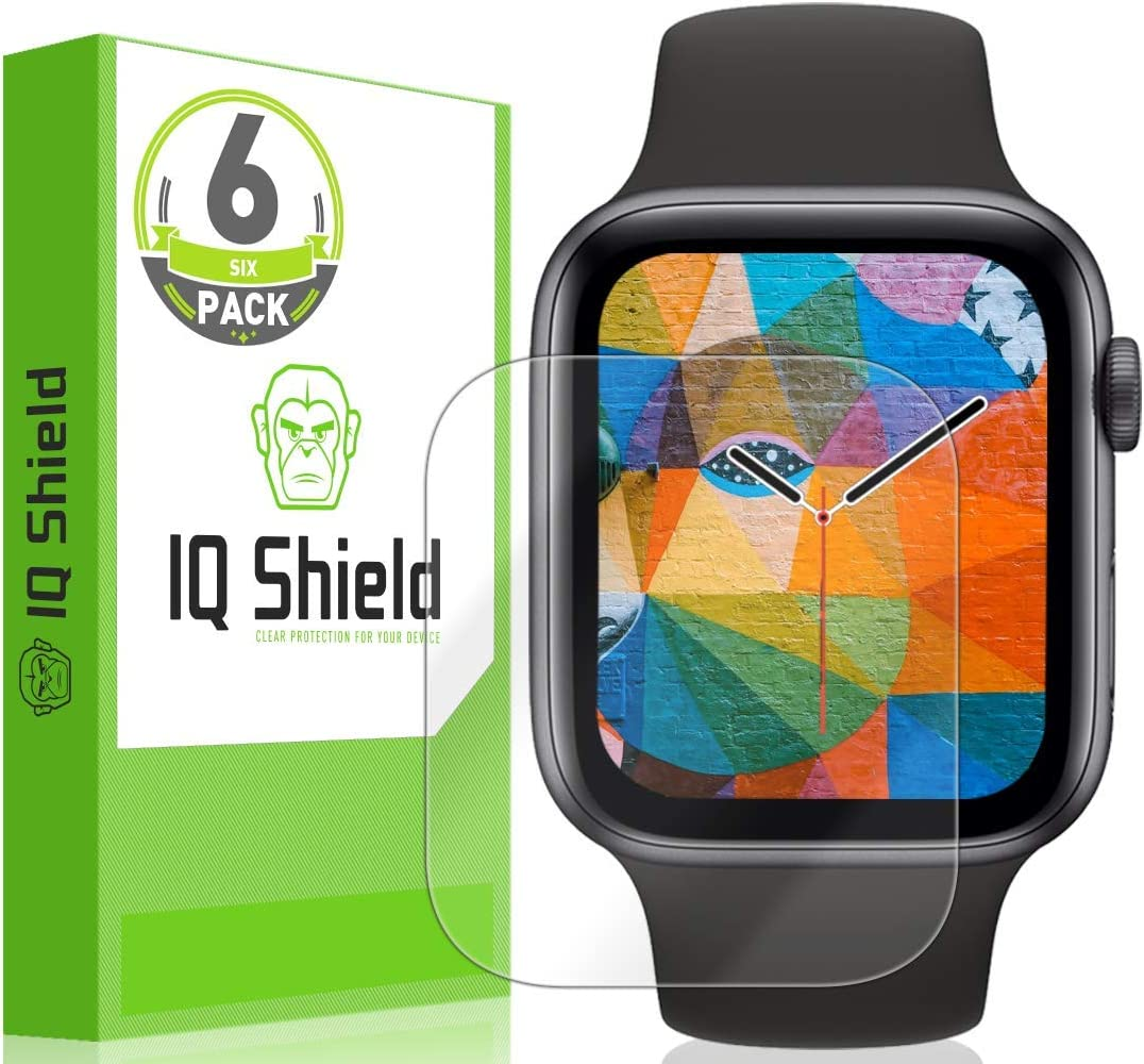 IQ Shield Screen Protector Compatible with Apple Watch Series 6 (44mm)(6-Pack) Anti-Bubble Clear Film