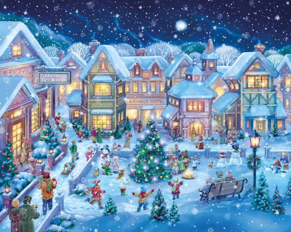 Holiday Village Square Christmas Jigsaw Puzzle 1000 Piece Vermont Christmas Company VC132