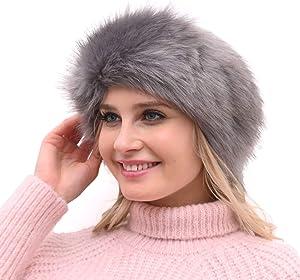 Womens Faux Fur Headband with Elastic Earwarmer Earmuff for winter cold weather
