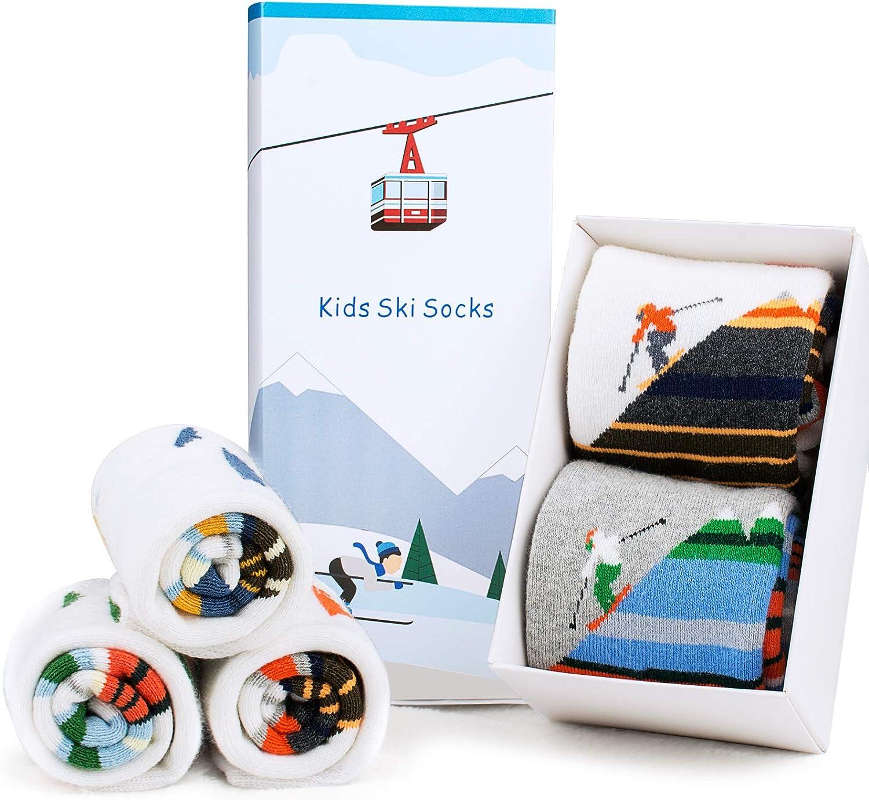 Ski Socks Kids Winter Warm Thermal Snow Socks, Skiing Snowboarding Skating for Toddler Boys and Girls (2 Pairs or 3 Pairs)(2 Pack ( Orange&gray ), Medium(10-13)): Clothing
