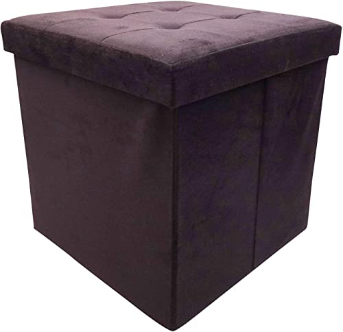 Storage Ottoman Black Folding Storage Cube Velvet Surface Footrest Seat Stool Soft Padding 15x15x15