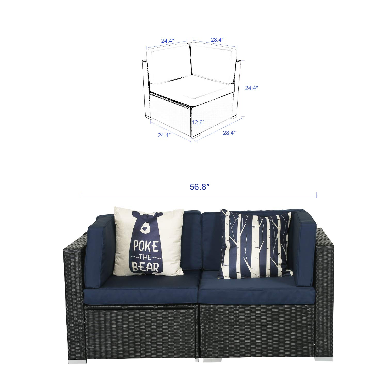 Amazon.com: Patio Sofá Exterior SECTIONAL LUCKWIND ...