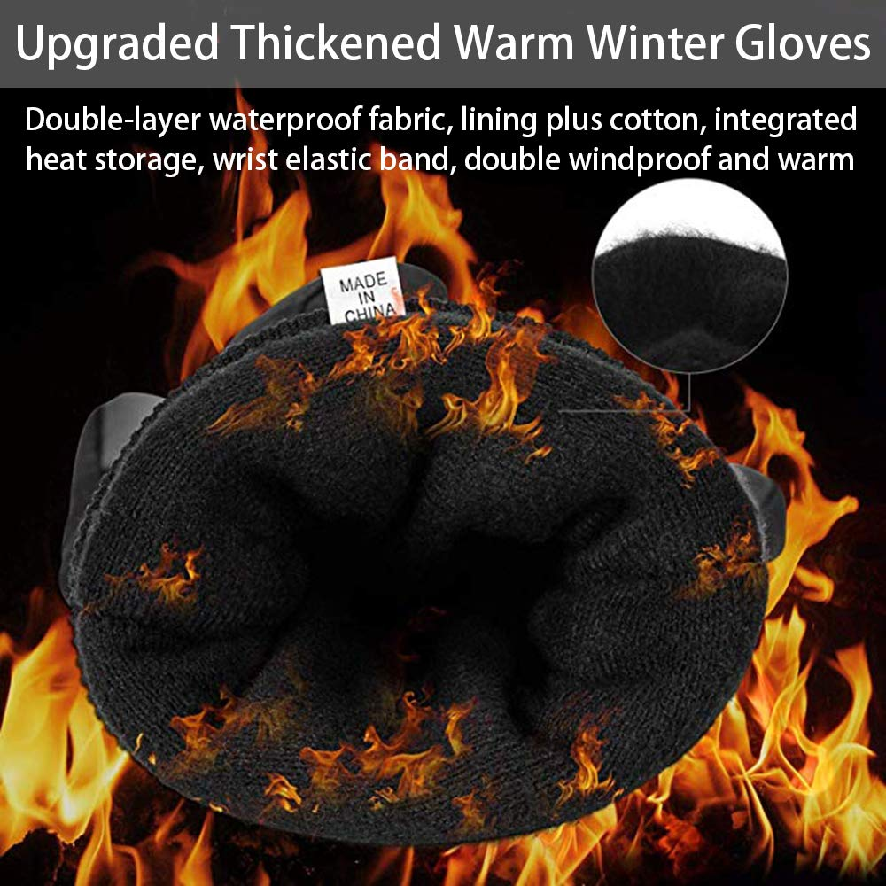 30℉Windproof Waterproof Touch Screen Gloves for Outdoor Work Mens Winter Gloves