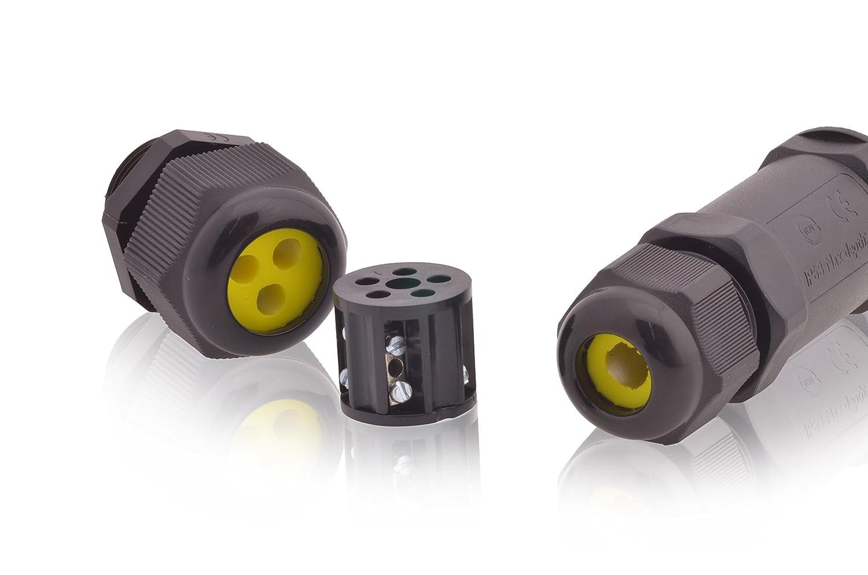Kabelverbinder wasserdicht 9A 450V AC 4-polig zwei /Öffnungen 4m Wassertiefe T/ÜV gepr/üft VDE /& CE Dosenmuffe Verbindungsdose IP68 Erdkabel