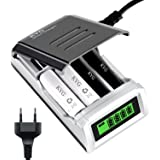 KYG Chargeur Rapide Piles pour 4-bay AA / AAA Ni-MH Ni-Cd Batteries Rechargeables, Rapid Battery Charger Écran LCD Intelligent Ultra Léger ( piles non incluses)