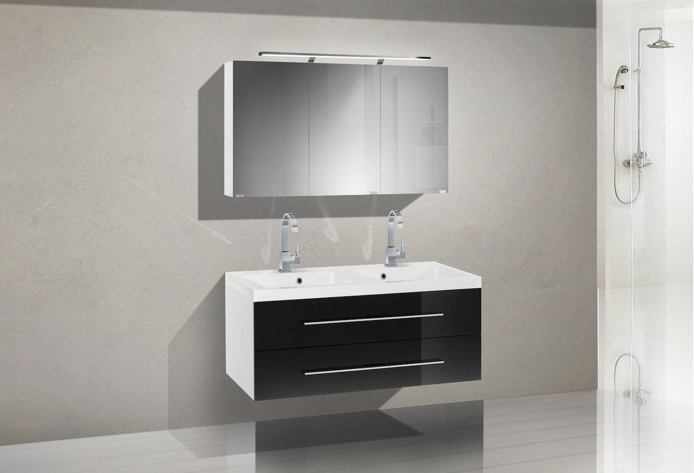 Badmöbel Set mit Doppelwaschtisch 120 cm und Spiegelschrank