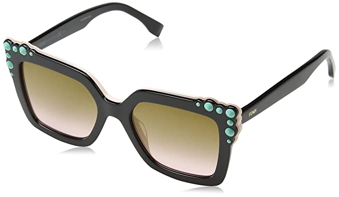 f814581d38 Amazon.com  Fendi FF0260 S 3H2 Black Pink FF0260 S Square Sunglasses ...