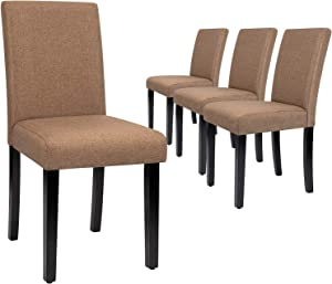 Furmax Dining Chairs Urban Style Fabric Parson Chairs Kitchen Livng Room Armless Side Chair with Solid Wood Legs Set of 4 (Brown)