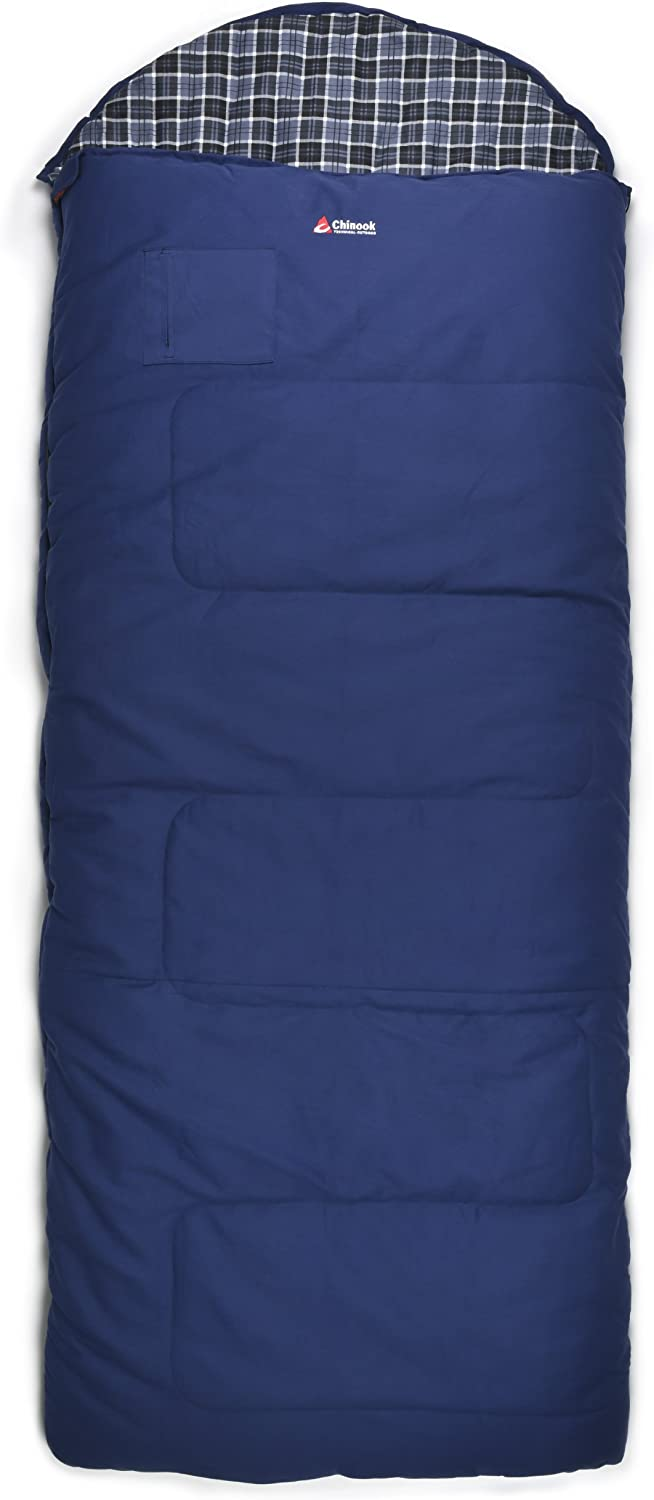 Chinook Alaskan 9.5 Double Hooded Rectangular Synthetic -50-Degree Sleeping Bag, Blue, X-Large