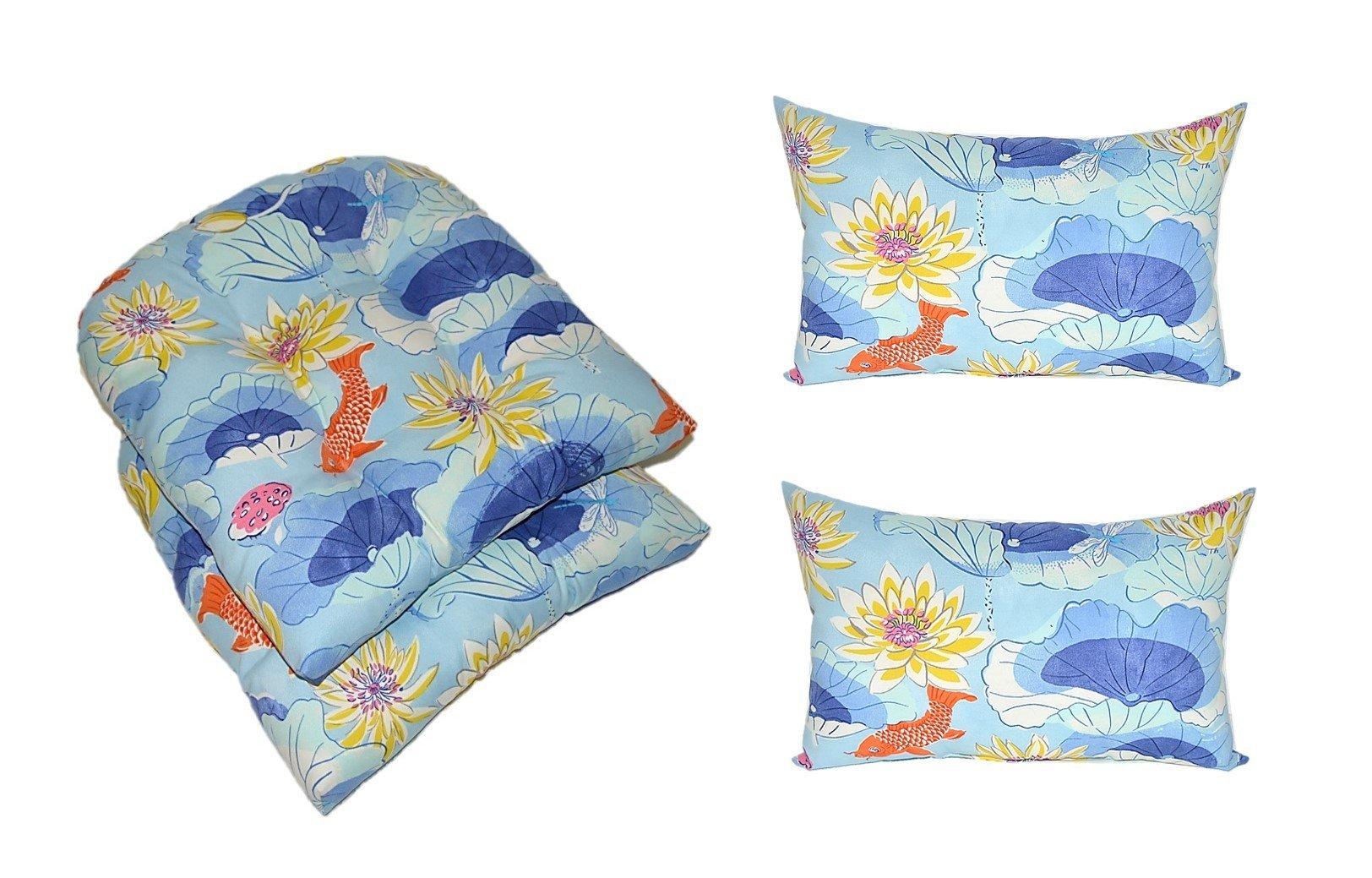 Set of 2 - Indoor / Outdoor Tufted U-shape Cushions for Wicker Chair Seats + 2 Free Rectangle / Lumbar Pillows - Lotus Lake Cobalt Koi Fish - Blue Orange Yellow