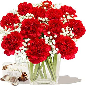 red carnations bouquet chocolates amazon co uk garden outdoors