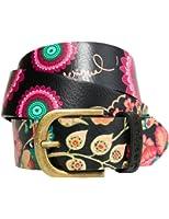 Desigual Women's Chapon Bordado Crux Belt, Black, 85 at Amazon Women
