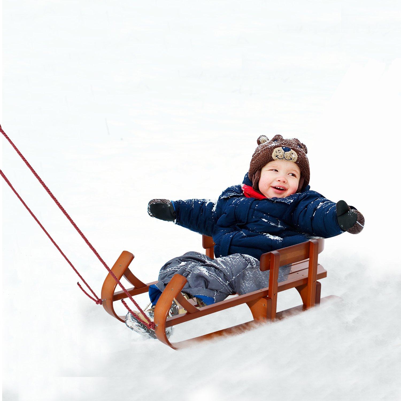 Qaba Snow Sled Children Wooden Sledge Ski Sliding Snowmobile Baby Sleigh