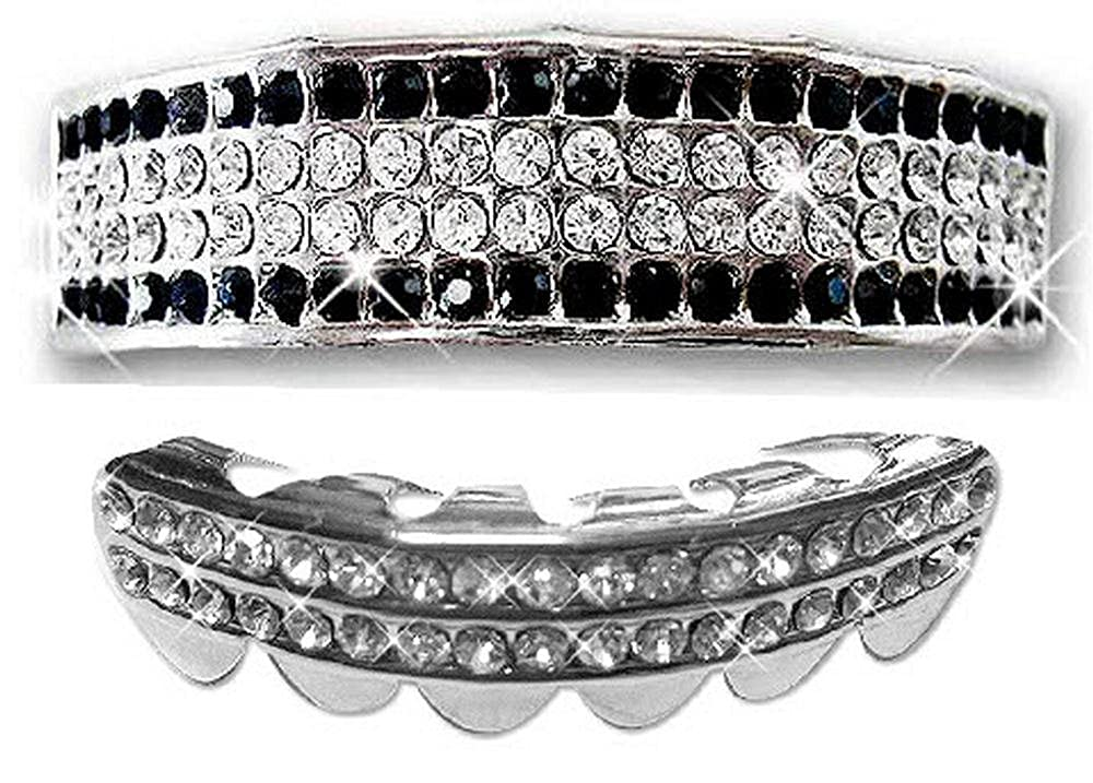 Hip Hop Silver Removeable Mouth 2pc Grillz Set - 6 Rows of Bling Onyx Big Dawgs Bling 1177