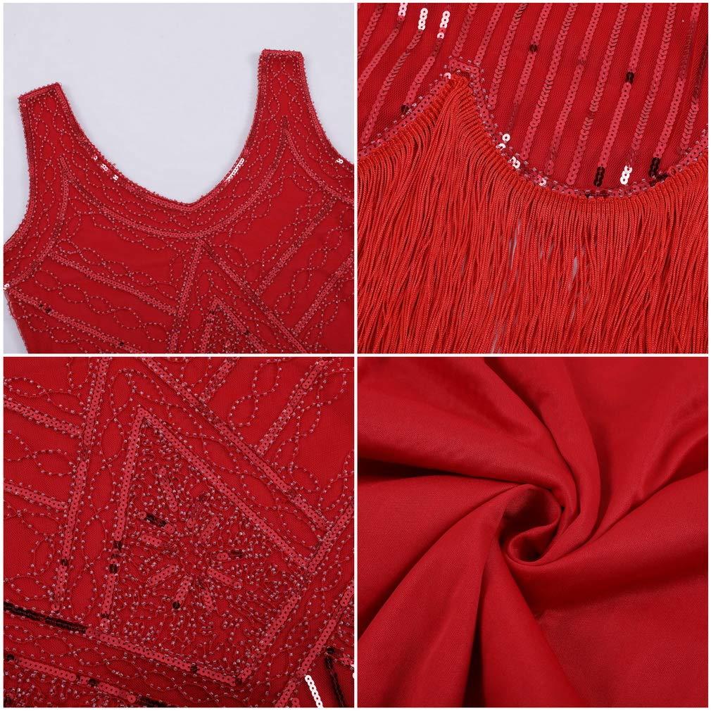 COMVIP Women Sleeveless V-Neck Sequin Beaded Evening Tassels Pencil Dress