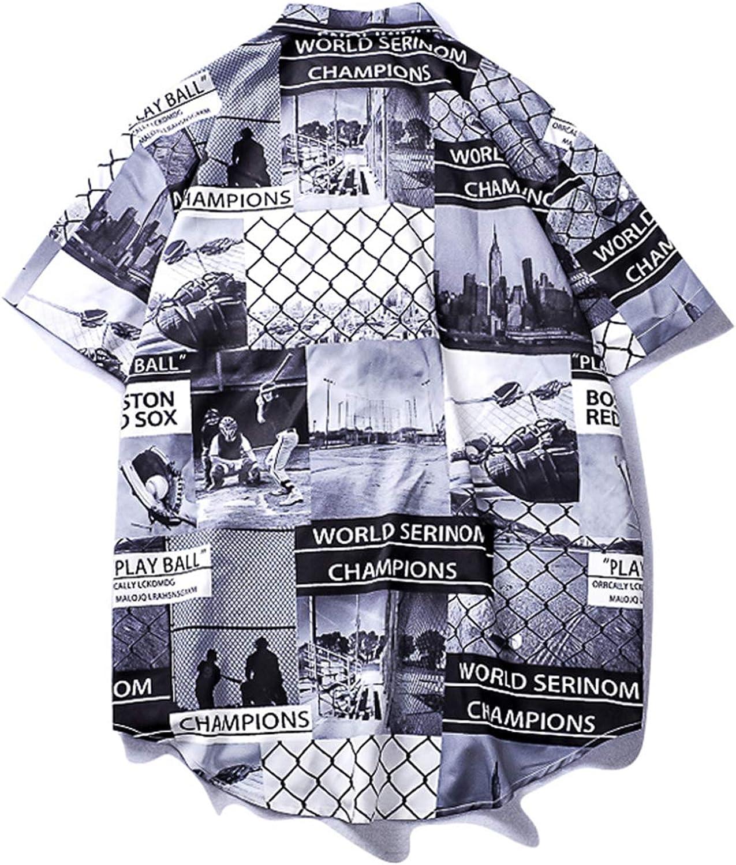 Mens Beach Hawaiian Shirt Tropical Summer Short Sleeve Shirt Men Streetwear Clothing Casual Loose Button Down Shirts Tops