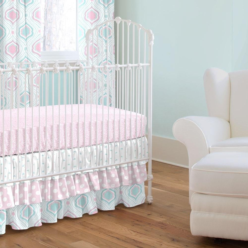 Carousel Designs Pink and Aqua Moroccan Damask Crib Skirt Three Tier 18-Inch Length