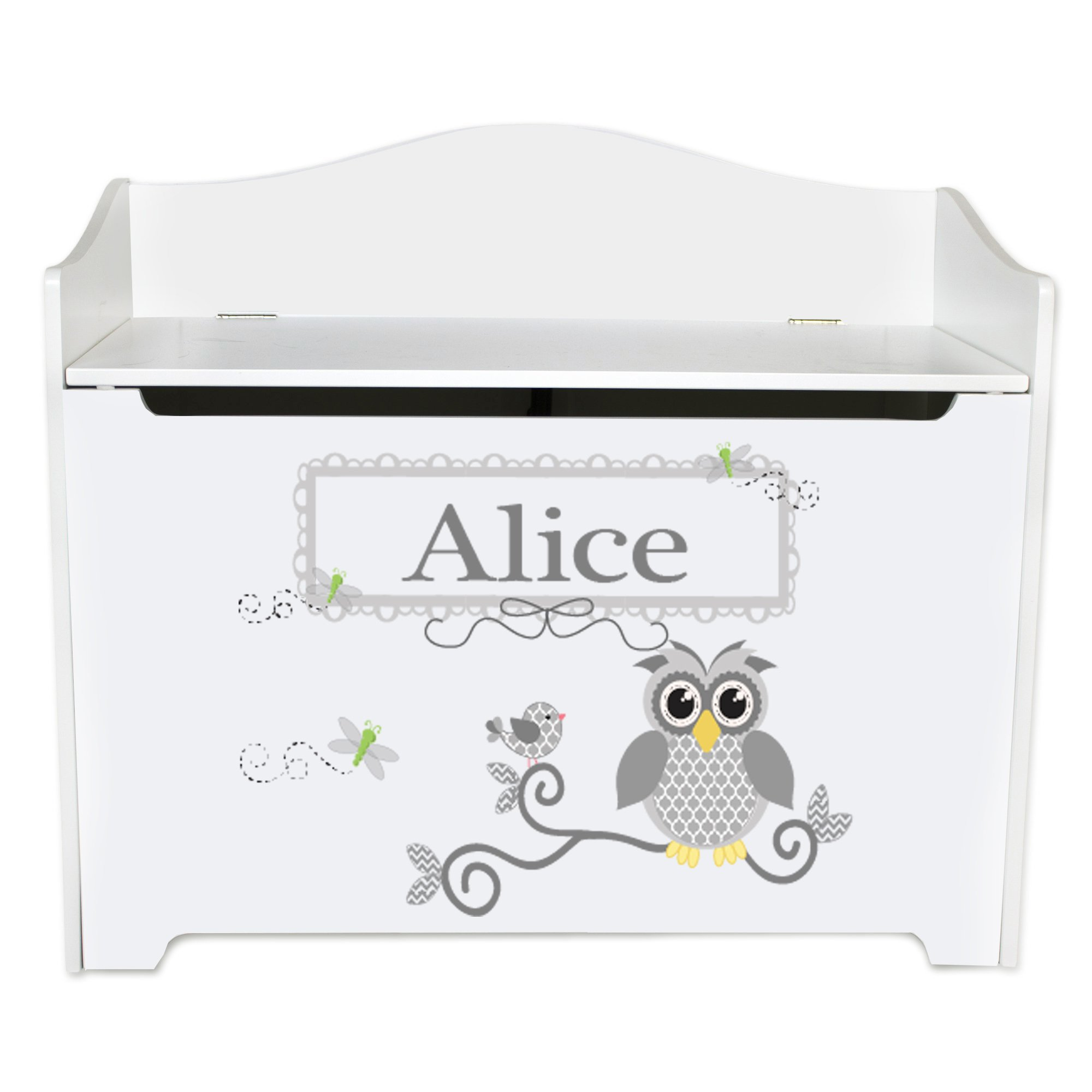 Personalized Pink Owl Toy Box Bench Custom