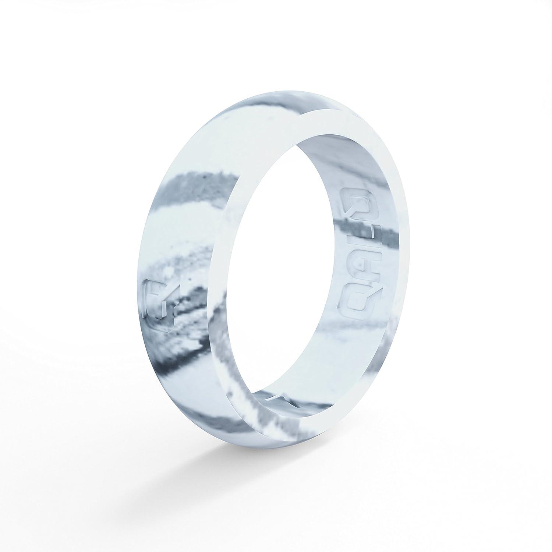 Amazon Com Qalo Women S White Marble Classic Q Silicone Ring Size