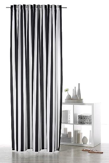 Amazon.de: Gardine modischer Dekoschal Streifen Black&White mit