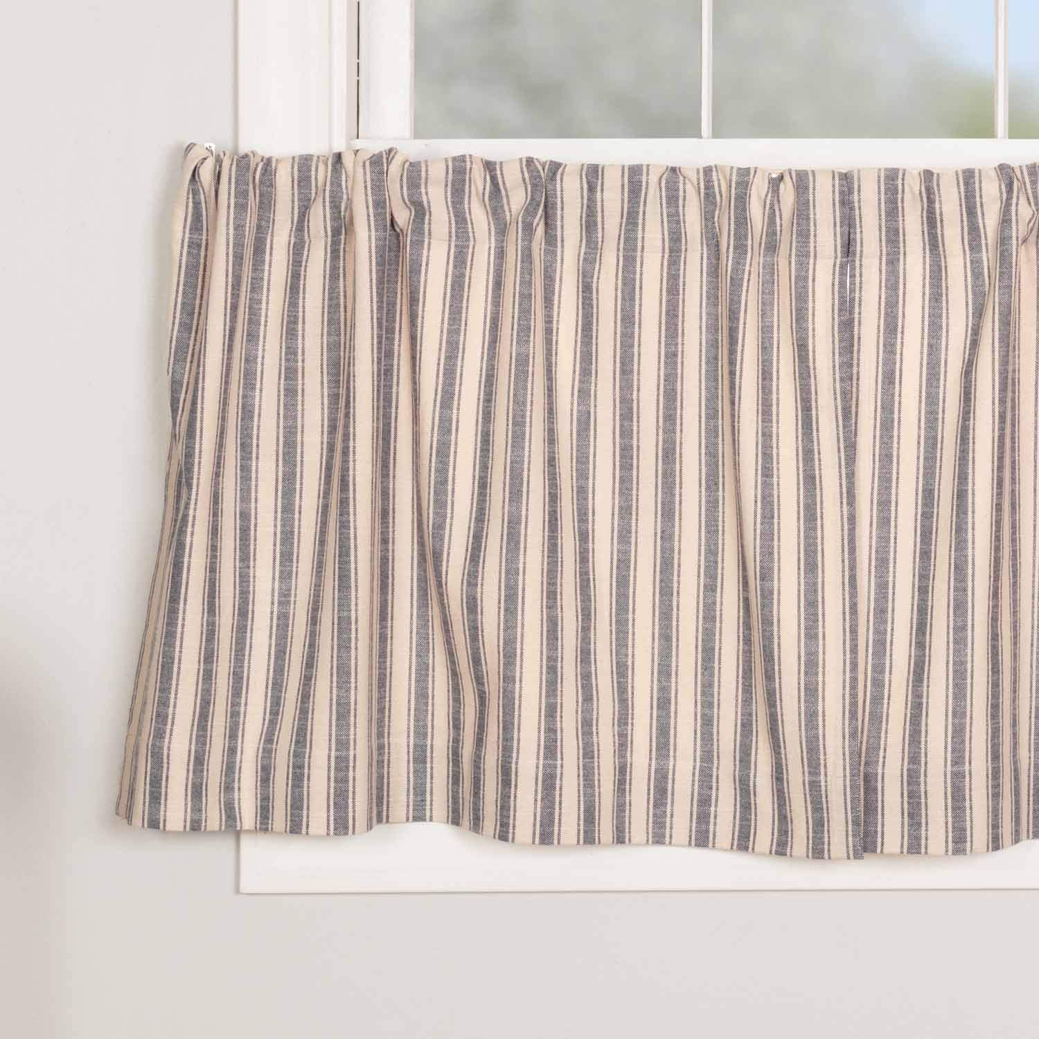 Market Place Blue Ticking Stripe Tier Curtains, Set of 2, 24'' Long, Farmhouse Style Blue & Natural Cream Café Curtains by Piper Classics