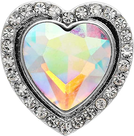 Black Opal Rhinestone 20mm Snap Charm Interchangeable For Ginger Snaps Jewelry