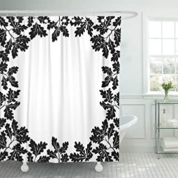 Emvency 72quotx78quot Shower Curtain Waterproof Leaf With Border Of Oak Branches Leaves