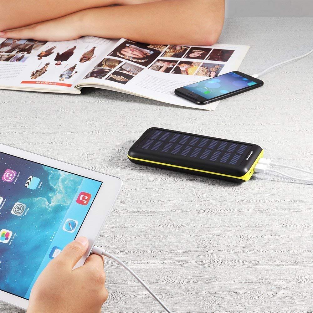 Batterie Externe Lighting et Micro Nexus et 3 Ports Haute Vitesse de Charge Portable pour iPhone Samsung iPad HTC et autres-Rouge BERNET 24000 mAh Chargeur Solaire Power Bank avec Deux Entr/ées