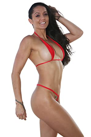 226d1509b00f8 Amazon.com  Micro Mini Red Extreme Teardrop G-String Bikini-Sexy Swimwear   Clothing