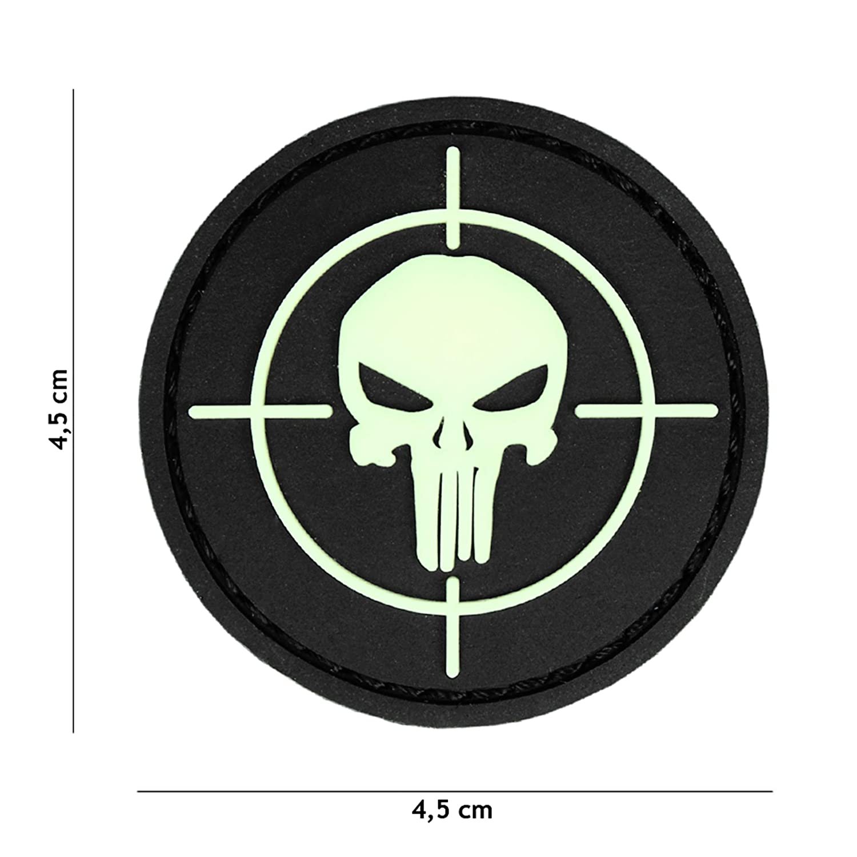 Tactical Attack Punisher Visier Glow in The Dark #20026 Softair Sniper PVC Patch Logo Klett inkl gegenseite zum aufn/ähen Paintball Airsoft Abzeichen Fun Outdoor Freizeit