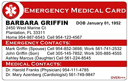 101 Custom Personalized tarjeta médica de emergencia 2 cara hielo ...