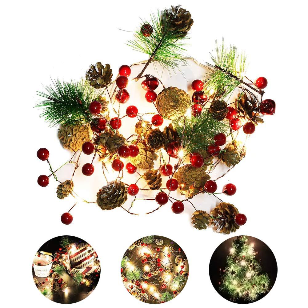 EisEyen 2m 20 LED Lichterketten Rote Beere Weihnachtsgirlande ...