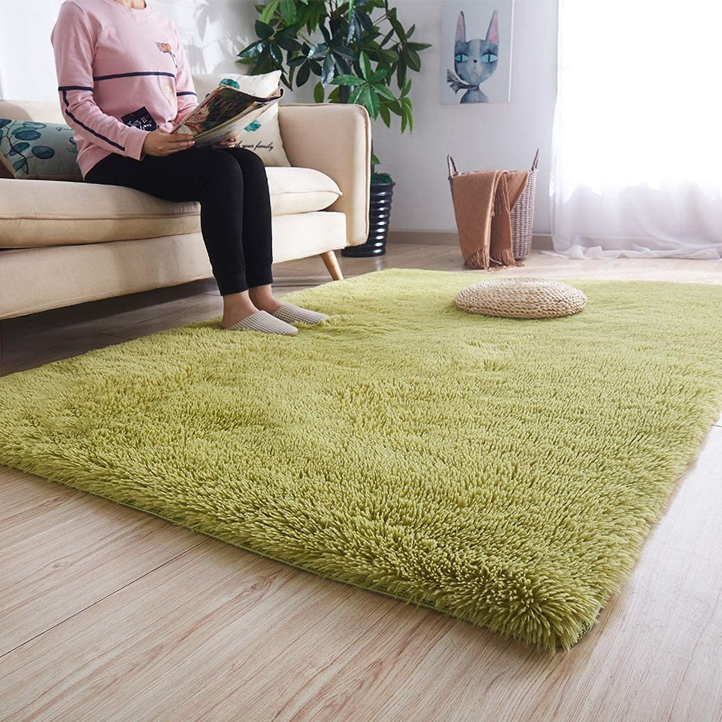 Noahas Luxury Fluffy Rugs Ultra Soft Shag Rug for Bedroom Living Room Kids Room, Child and Girls Shaggy Furry Floor Carpet Nursery Rugs Modern Indoor Home Decorative, 5.3 ft x 7.5 ft, Green